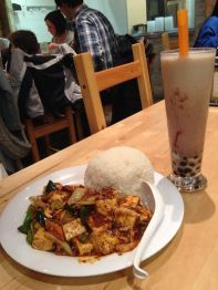 Spicy tofu and red bean milk tea at Corner 17