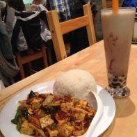 Spicy tofu and red bean milk tea at Corner 17