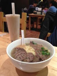 Beef Noodle soup and lychee milk tea