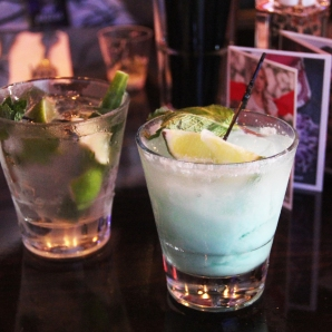Cucumber gin mojito (left), blue kahuna (right)