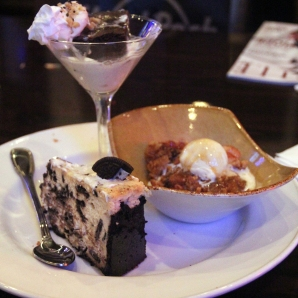 Oreo cheesecake (front), apple cobbler (right), and hot fudge brownie (back)